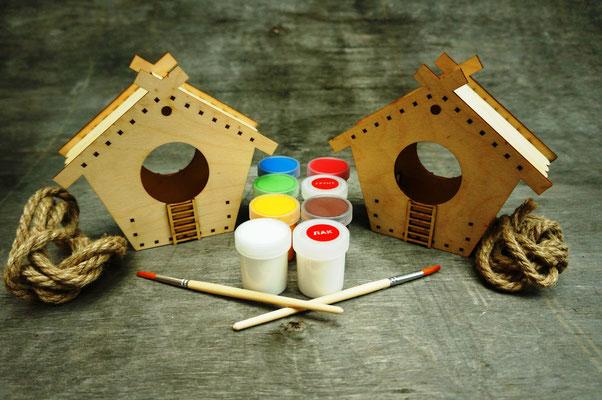 Кормушки для росписи в наборе с красками