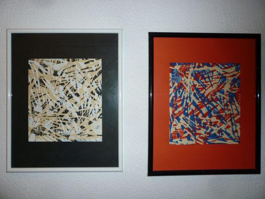 Holzdruckserie Blatt 1+2,  24 x 30 cm
