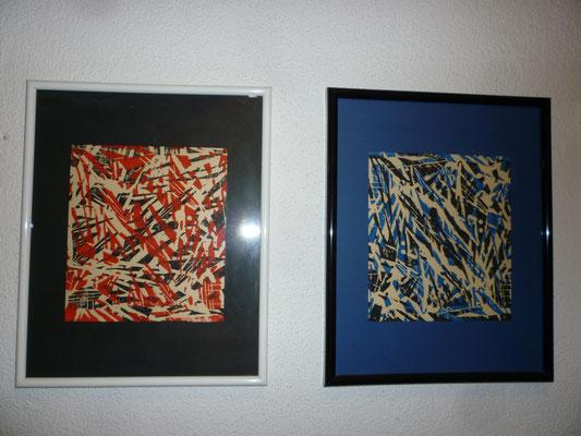 Holzdruckserie Blatt 3+4,  24 x 30 cm