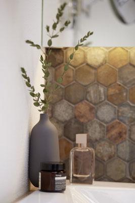 Mosaico esagonale Hexagon marmo vetro Ruggine