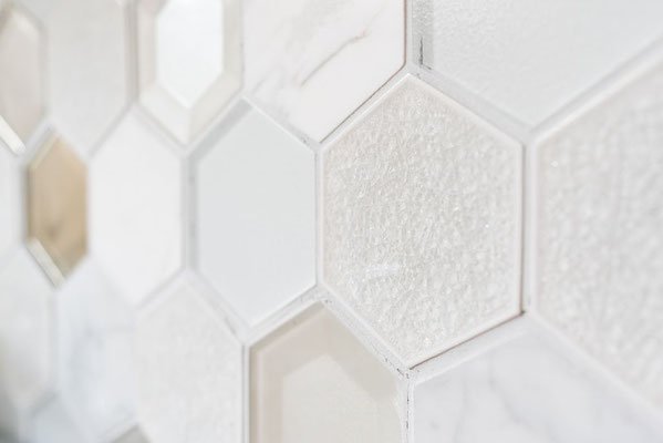 Mosaico 3D Hexagon Big marmo vetro Bianco