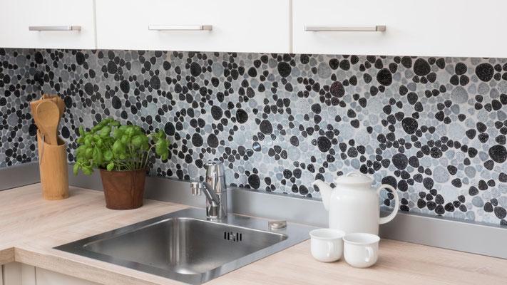 Mosaico Silex dimensione tessere 2-5 cm Mix Bianco Nero lucido
