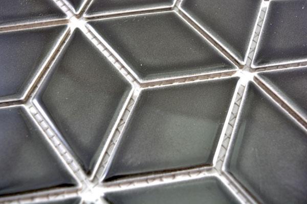 Mosaico Rombo 3D Black lucido