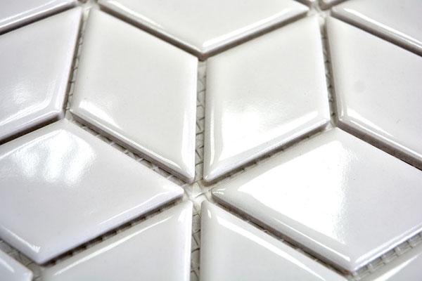 Mosaico Rombo 3D White lucido