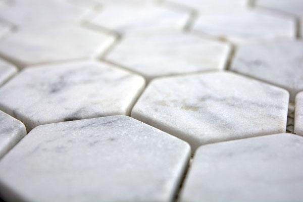 Mosaico Esagono in marmo Bianco Carrara