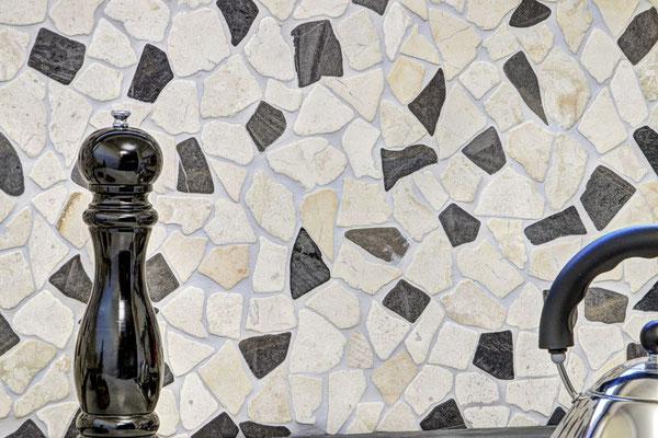 Mosaico Palladiana marmo mix Biancone Java