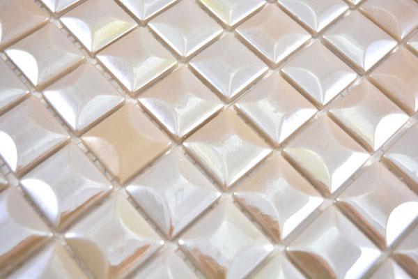 Mosaico in pasta di vetro riciclata e pressata Beige Piramide 3D