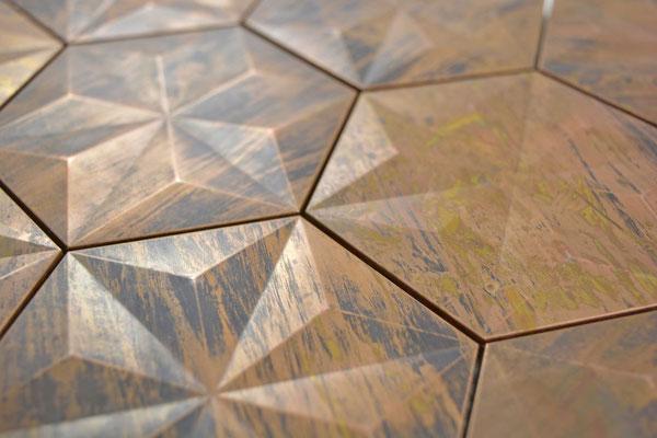 Mosaico Esagono in metallo rame effetto 3D