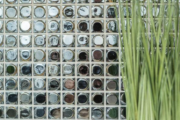 Mosaico in pasta di vetro riciclata e pressata Nero rotondo 3D