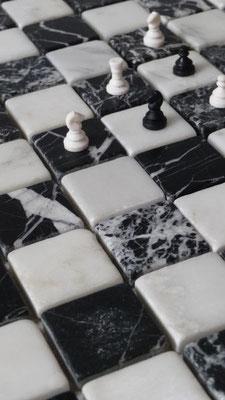 Mosaico marmo 31mm Nero Bianco anticato