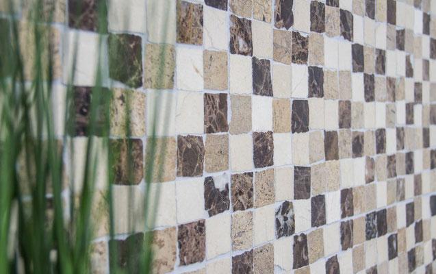 Mosaico Marmo 32mm Mix Rustico Crema Marfil Emperador opaco