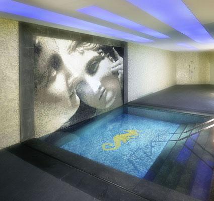 Mosaico decoro per piscina Cavalluccio Marino 1100x430mm
