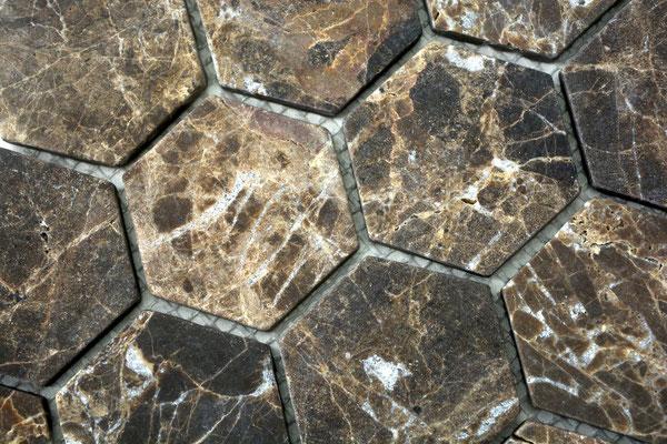 Mosaico Esagono in marmo Emperador