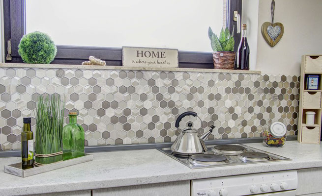 Mosaico esagonale 3D Hexagon marmo vetro Beige