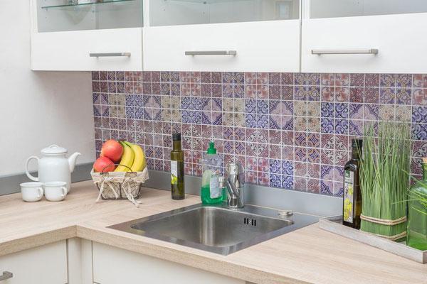 Mosaico effetto patchwork in vetro miscela di colori