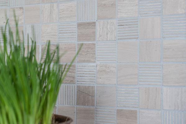 Mosaico Marmo 32mm Grigio Rigato anticato