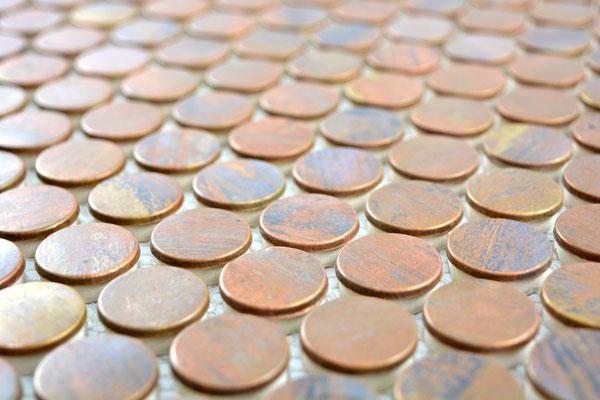 mosaico rotondo metallo rame