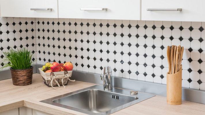 Mosaico 5,6x5,6 cm Ottagono Bianco opaco Nero lucido