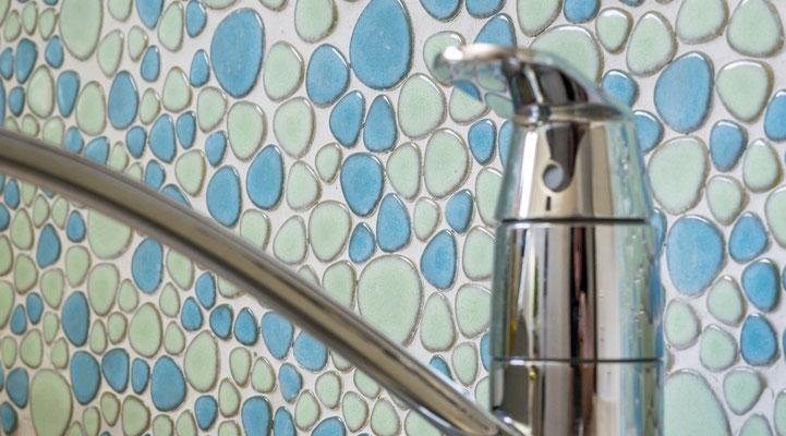 Mosaico Silex dimensione tessere 2-5 cm Mix Azzurro lucido