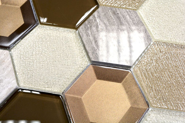 Mosaico 3D Hexagon Big marmo vetro Beige
