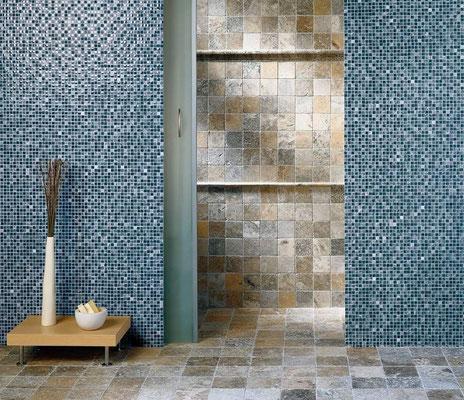 Mosaici 1,5x1,5cm Grey Glass e Marmo Anticato Scabas
