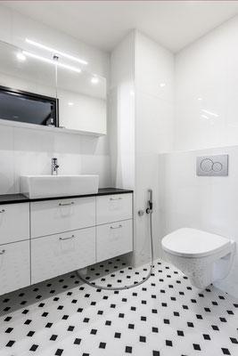 Mosaico 9,7x9,7 cm Ottagono Bianco opaco Nero lucido Grande