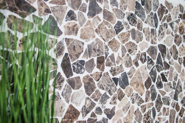Mosaico Palladiana marmo Impala Brown