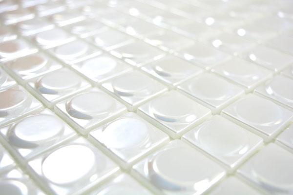 Mosaico in pasta di vetro riciclata e pressata Bianco rotondo 3D