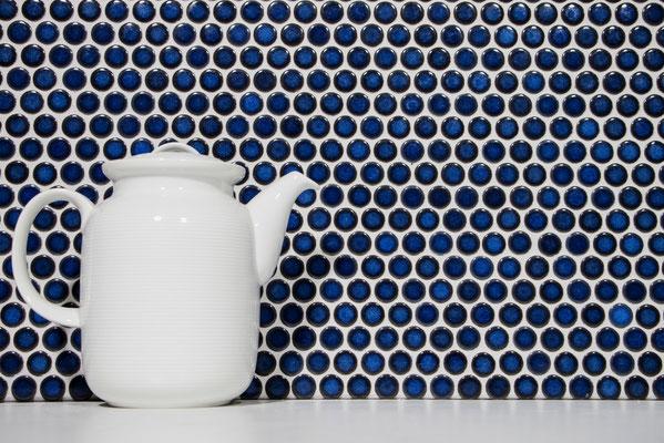 Mosaico diametro 1,9 cm Bottone Blu Cobalto lucido