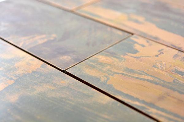 mosaico muretto metallo rame