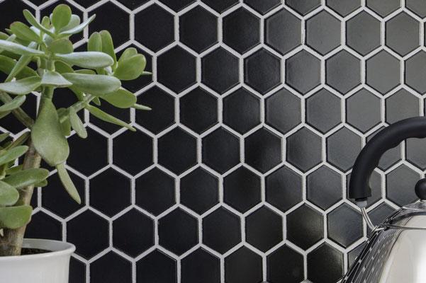 Mosaico 51x59 mm Esagoni NERO LUCIDO