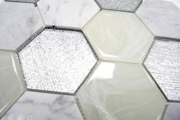 Mosaico 3D Hexagon Big marmo vetro Silver