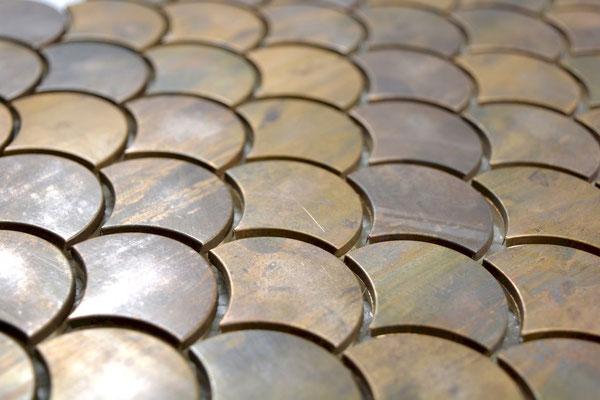 mosaico a ventaglio metallo rame