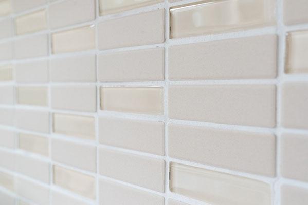 Mosaico 2,2x7,3 cm Beige Vetro Mattoncino non smaltato