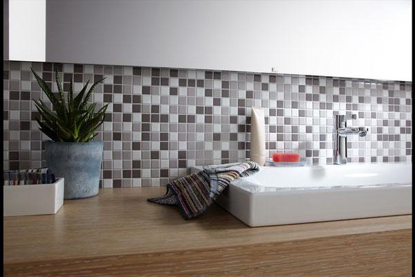 Mosaico 2,5x2,5 cm Mix Bianco Grigio Antracite opaco