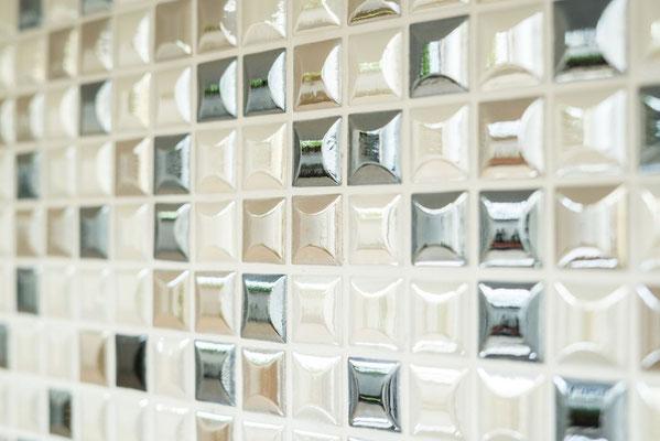 Mosaico in pasta di vetro riciclata e pressata Mix Caffe 3D