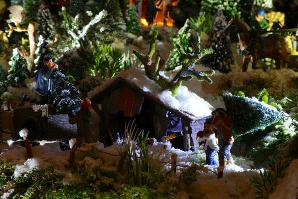 Village de Noël/Christmas Village 2014 de nuit: Dur métier !