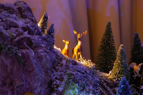 Village Noël/Christmas Village 2013, la nuit: Jolis cervidés
