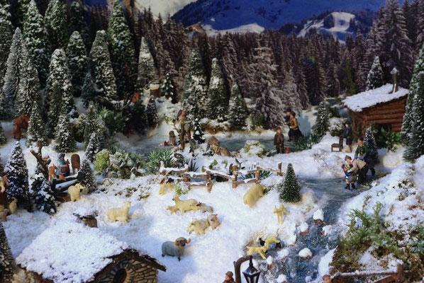 Village Noël /Christmas Vilage 2014, les hauteurs: Moutons dans la neige