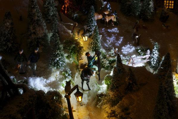 Village de Noël/Christmas Village 2014 de nuit: À cheval dans la nuit