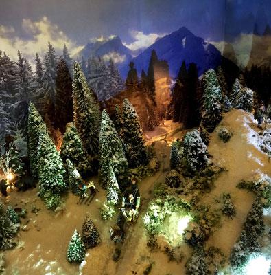 Village de Noël/Christmas Village 2014 de nuit: Retour nocturne en traineau