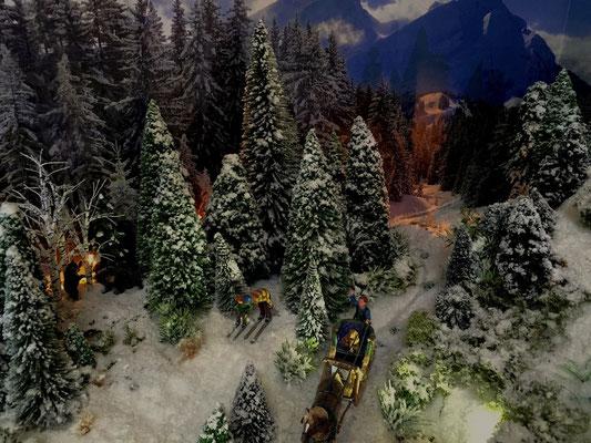 Village de Noël/Christmas Village 2014 de nuit: Leçon de ski