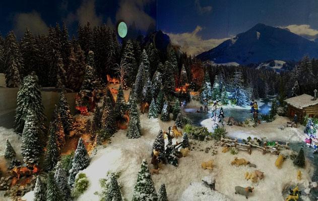 Village de Noël/Christmas Village 2014 de nuit: Animaux au clair de lune