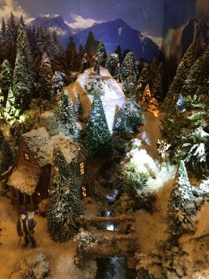 Village de Noël/Christmas Village 2014 de nuit: Petit chalet dans la nuit