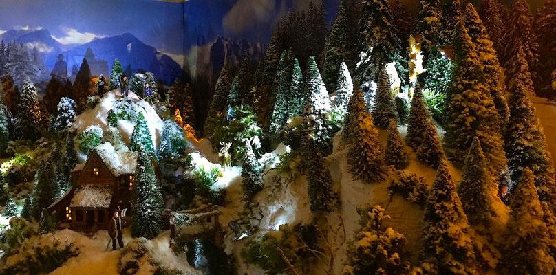 Village de Noël/Christmas Village 2014 de nuit: Forêt et escalade près du chalet