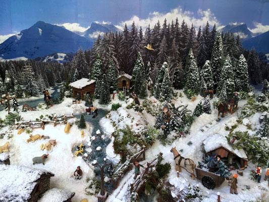 Village Noël /Christmas Vilage 2014, les hauteurs: Bois et torrent