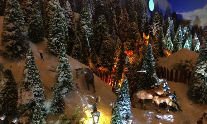 Village de Noël/Christmas Village 2014 de nuit: Chevaux au paturage