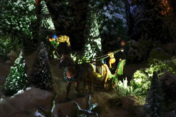 Village de Noël/Christmas Village 2014 de nuit: Traineau sous les étoiles