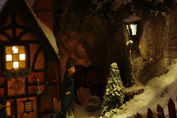 Village de Noël/Christmas Village 2014 de nuit: Repas et soins au cheval
