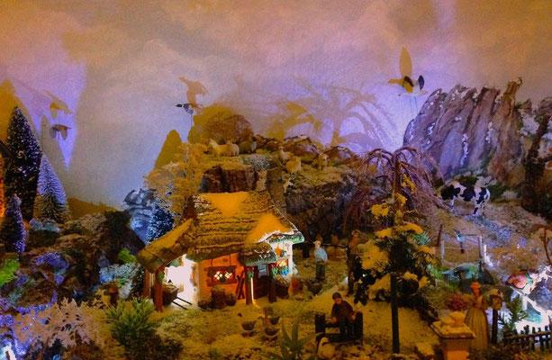 Village Noël/Christmas Village 2013, la nuit: La ferme à la tombée de la nuit